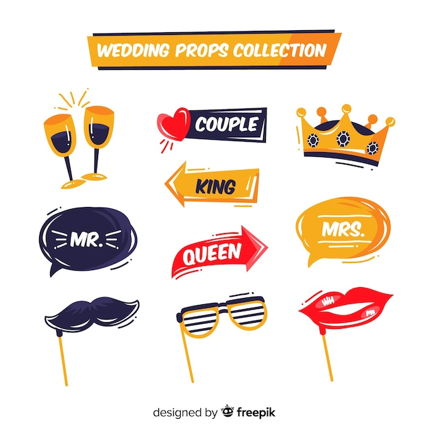 Bruiloft foto booth prop collectie Gratis Vector