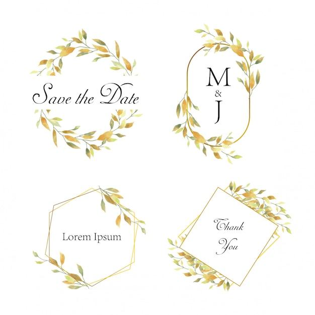Bruiloft frame met gele aquarel stijl bladeren Premium Vector