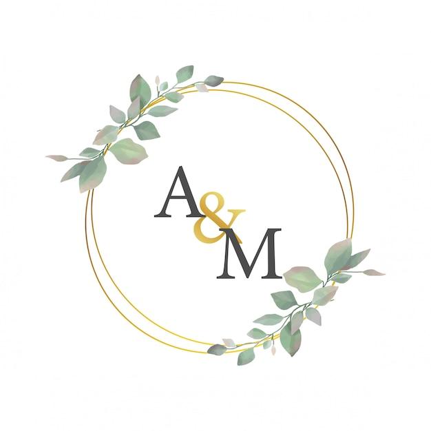 Bruiloft frame met gouden cirkels en bladeren Premium Vector