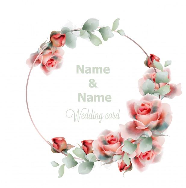 Bruiloft frame rozen aquarel Premium Vector