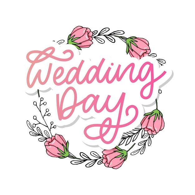 Bruiloft hand belettering teken kalligrafie tekst borstel slogan. Premium Vector