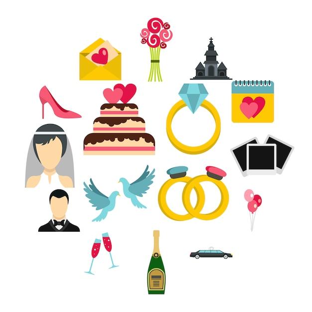 Bruiloft iconen set, vlakke stijl Premium Vector