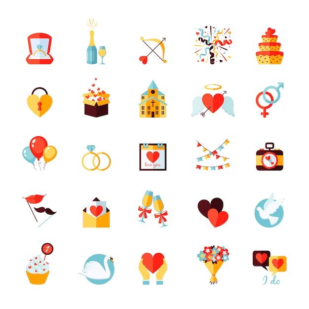 Bruiloft icons set Premium Vector