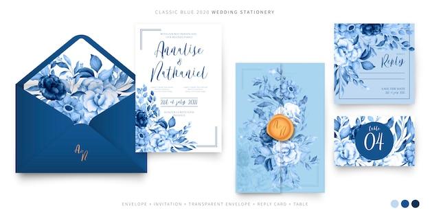 Bruiloft ingesteld sjabloon in klassiek blauw Gratis Vector