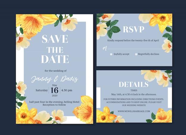 Bruiloft kaart bloem aquarel, bedankt kaart, uitnodiging huwelijk illustratie Gratis Vector