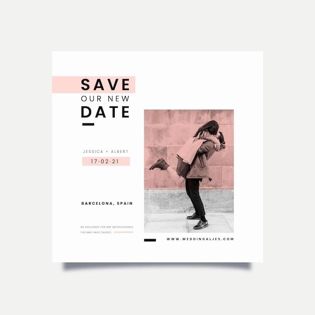 Bruiloft kaart concept uitgesteld Gratis Vector