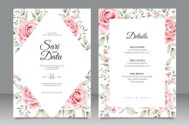Bruiloft kaart ingesteld sjabloon met bloemen aquarel Premium Vector