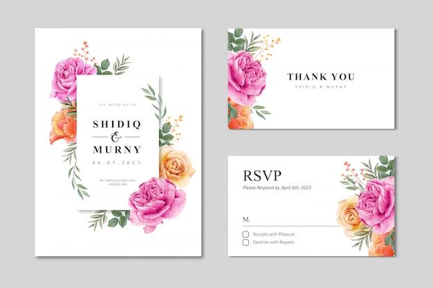 Bruiloft kaart ingesteld sjabloon met bloemen frame aquarel Premium Vector
