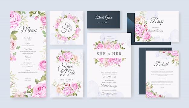 Bruiloft kaart ingesteld sjabloon met prachtige bloemen en bladeren Premium Vector