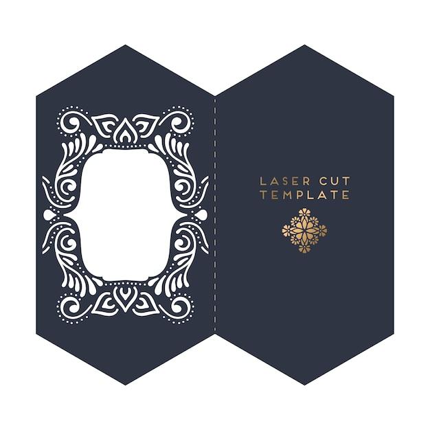 Bruiloft kaart laser gesneden sjabloon Premium Vector