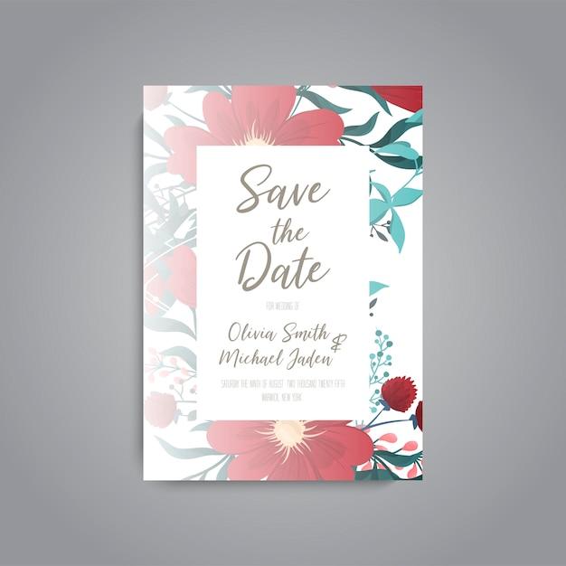 Bruiloft kaart met bloem roos Gratis Vector