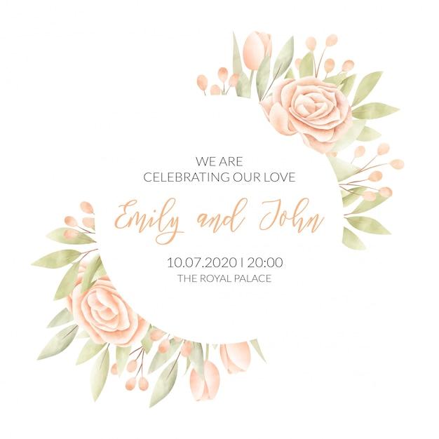 Bruiloft kaart met bloemen frame Gratis Vector