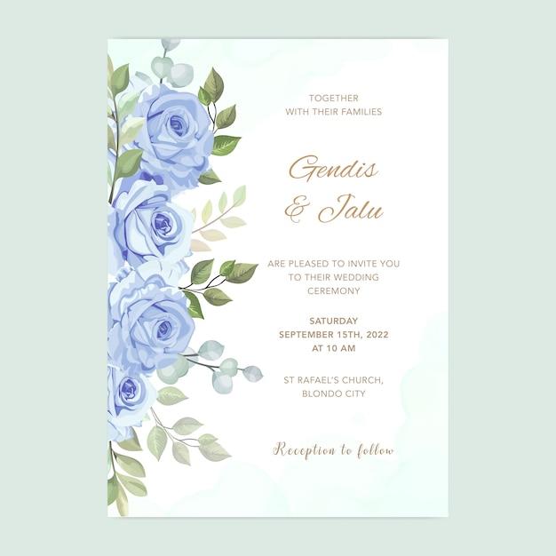 Bruiloft kaart met prachtige bloemen aquarel sjabloon Premium Vector