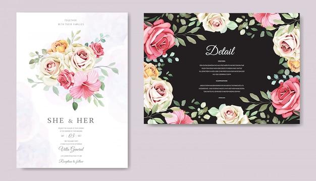 Bruiloft kaart met prachtige bloemen sjabloon Premium Vector