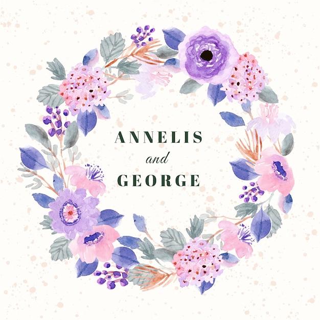 Bruiloft kaart met zachte paarse roze bloemen aquarel krans Premium Vector