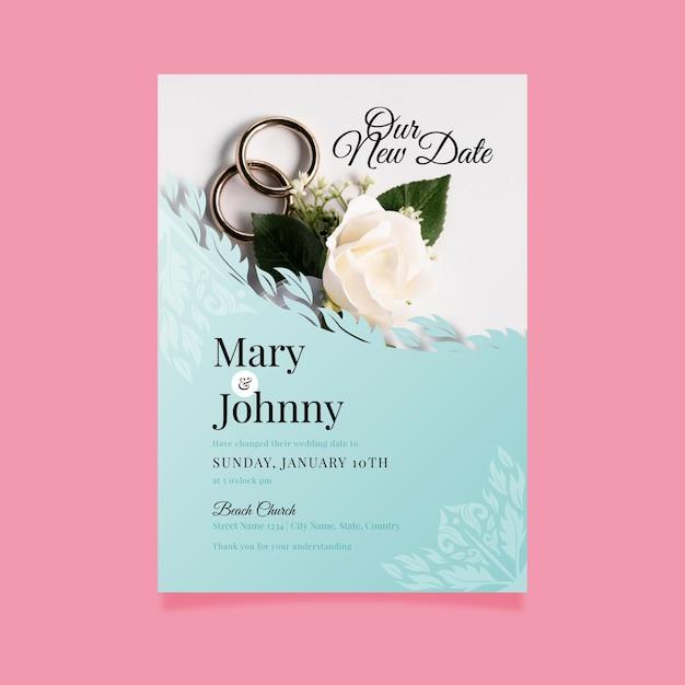Bruiloft kaart uitgesteld Gratis Vector