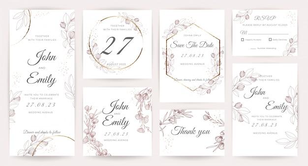 Bruiloft kaart uitnodiging sjabloon collectie Premium Vector