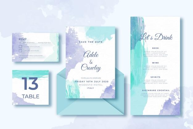 Bruiloft kaartsjabloon collectie en envelop Gratis Vector