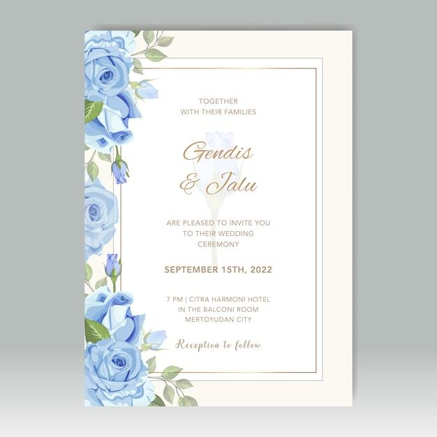 Bruiloft kaartsjabloon met bloemen vector Premium Vector