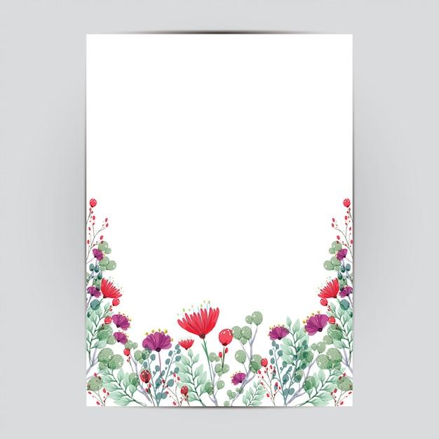 Bruiloft kaartsjabloon met bloemen Premium Vector
