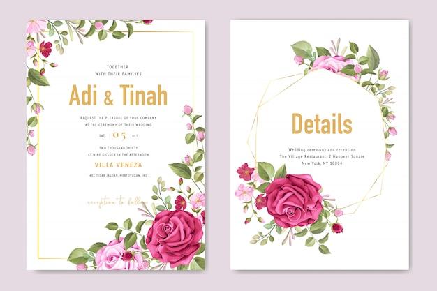 Bruiloft kaartsjabloon met mooie bloem en bladeren frame Premium Vector