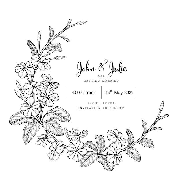 Bruiloft kaartsjabloon met plumbago auriculata (cape leadwort) bloemtekeningen Gratis Vector