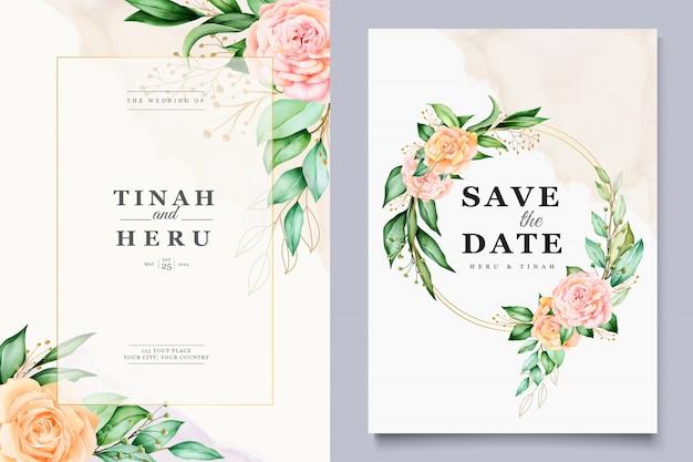 Bruiloft kaartsjabloon met prachtige aquarel bloemen krans Gratis Vector