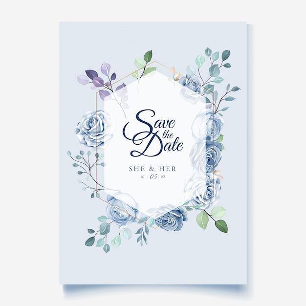 Bruiloft kaartsjabloon met prachtige blauwe bloemen krans Premium Vector