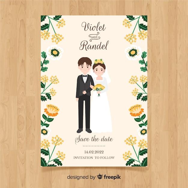 Bruiloft kaartsjabloon Gratis Vector