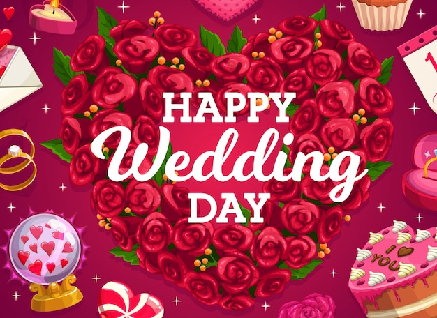 Bruiloft krans, cake en liefde hart van bloemen, bruid en bruidegom huwelijksfeest gouden ringen. bruidstaart en bloemenboeket, liefdesboodschap en hartlolly, kristallen bol en geschenken Premium Vector