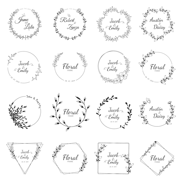 Bruiloft krans collectie voor bruiloft Premium Vector