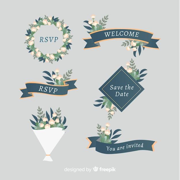 Bruiloft lint set Gratis Vector