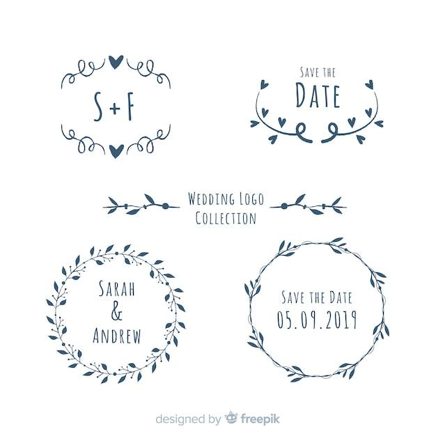 Bruiloft logo collectie Gratis Vector