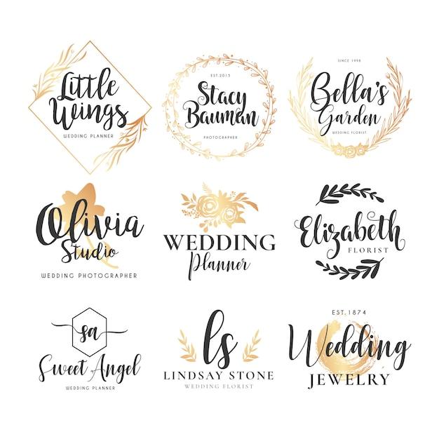 Bruiloft logo-collectie Gratis Vector