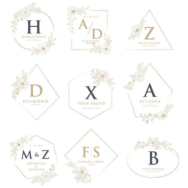 Bruiloft logo's met florale decoraties Premium Vector