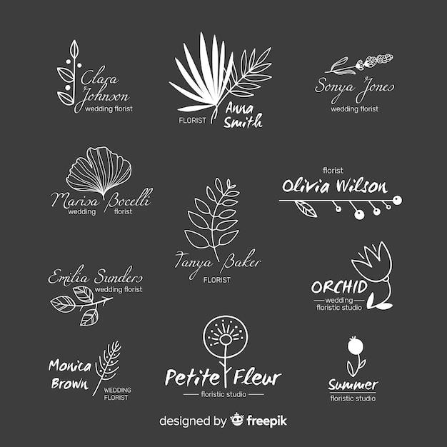 Bruiloft logo set voor bloemist Gratis Vector