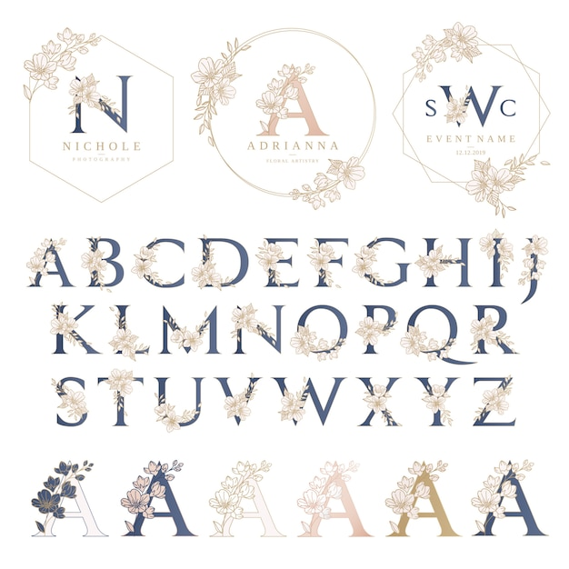 Bruiloft logo sjabloon met bloemen krans Premium Vector