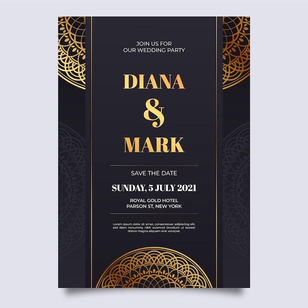 Bruiloft luxe uitnodiging sjabloon Gratis Vector