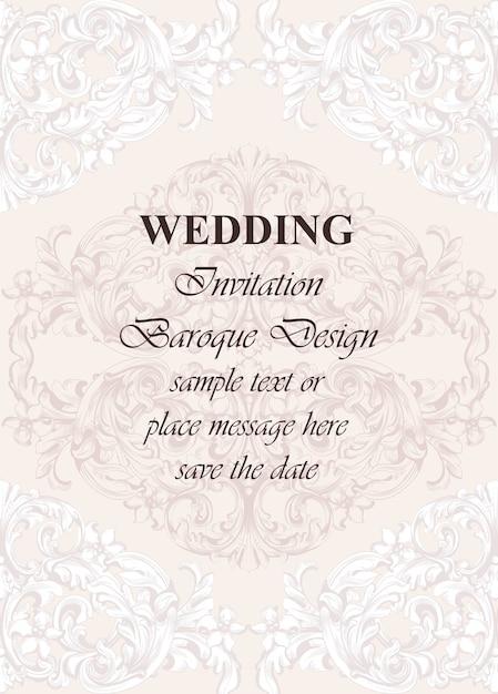 Bruiloft luxe uitnodigingskaart vector. koninklijk victorian patroonornament. rijke rococo-achtergronden Premium Vector