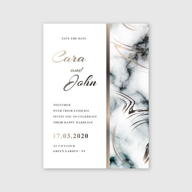 Bruiloft marmeren kaart sjabloonontwerp Gratis Vector