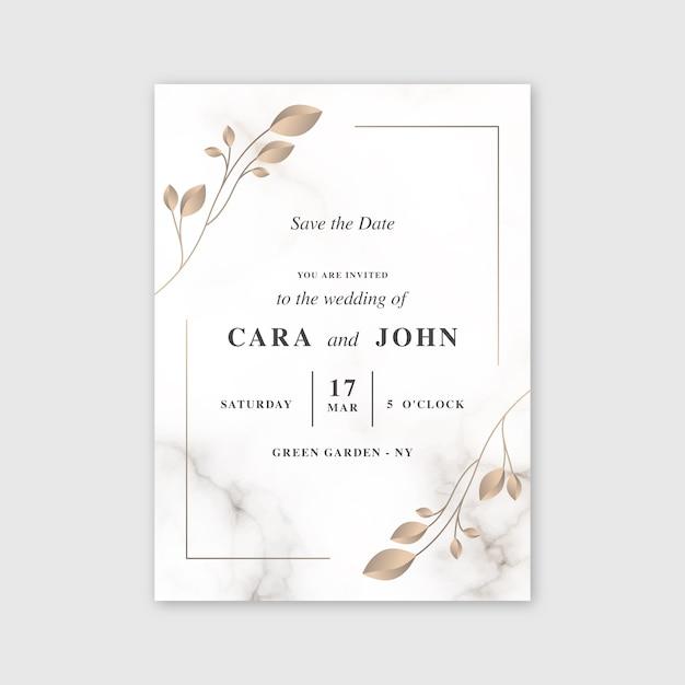Bruiloft marmeren kaartsjabloon Gratis Vector