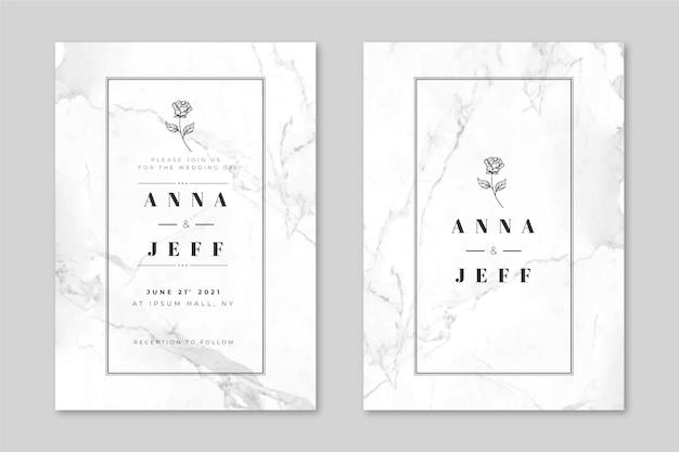 Bruiloft marmeren kaartsjabloon Premium Vector