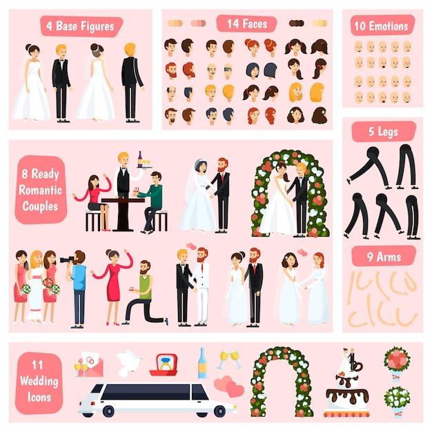 Bruiloft mensen orthogonale karakter constructor Gratis Vector