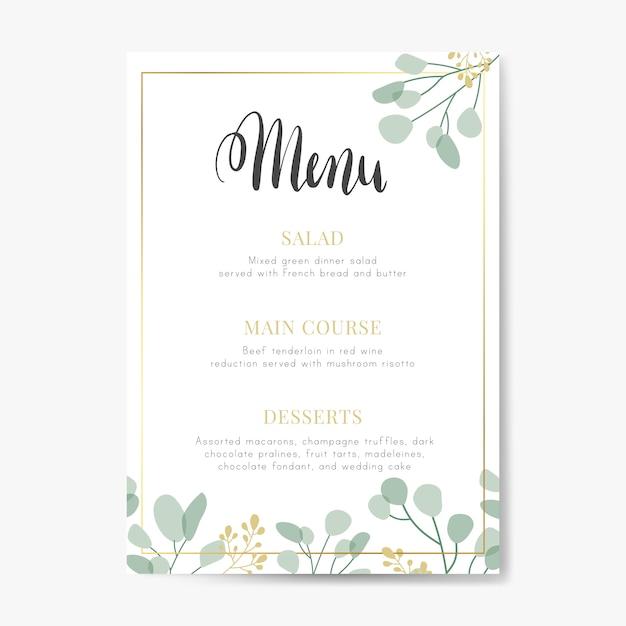 Bruiloft menu ontwerp Gratis Vector