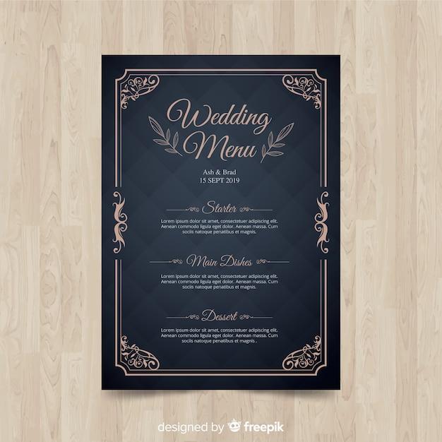 Bruiloft menusjabloon Gratis Vector