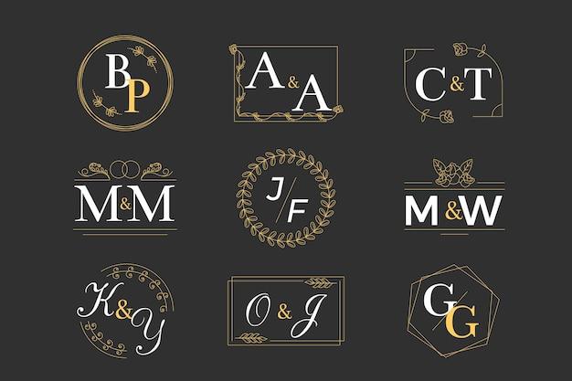 Bruiloft monogram collectie concept Gratis Vector