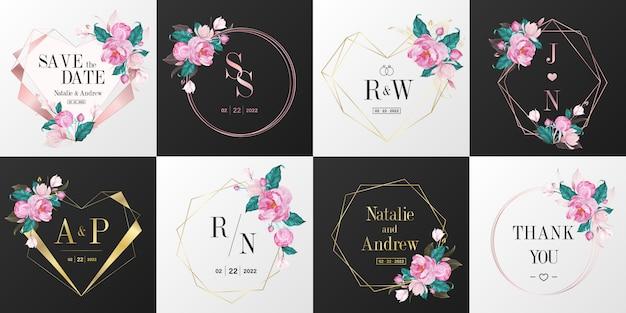 Bruiloft monogram logo collectie. aquarel bloemen frame voor uitnodigingskaart ontwerp. Gratis Vector
