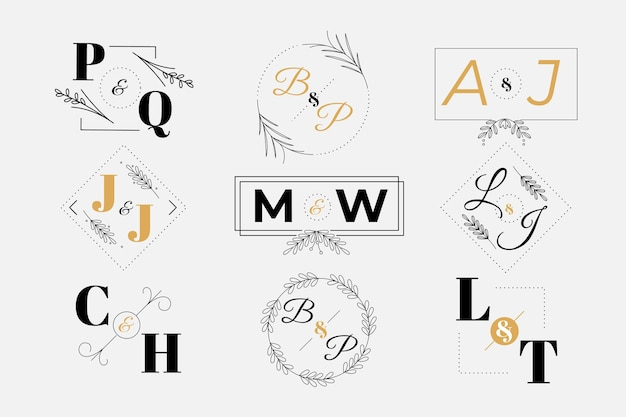 Bruiloft monogram logo collectie Gratis Vector