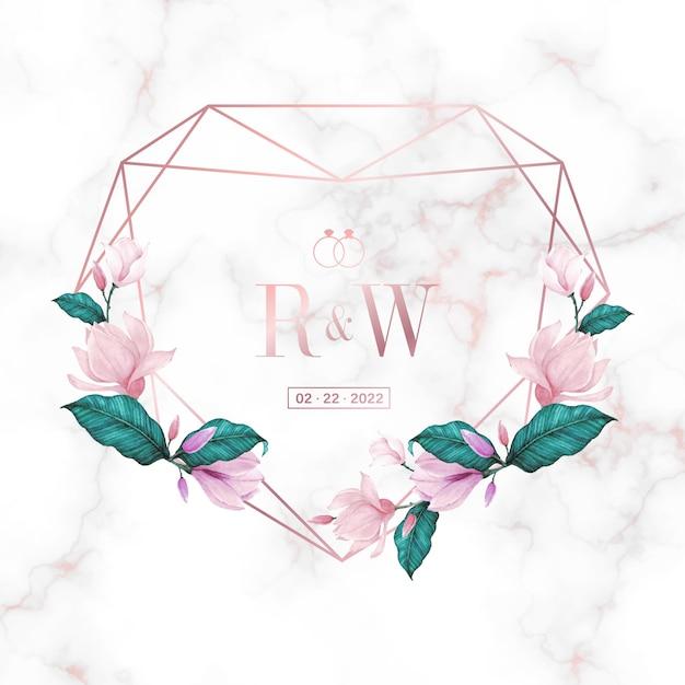 Bruiloft monogram logo ontwerpsjabloon. aquarel bloemen frame voor uitnodigingskaart ontwerp. Gratis Vector