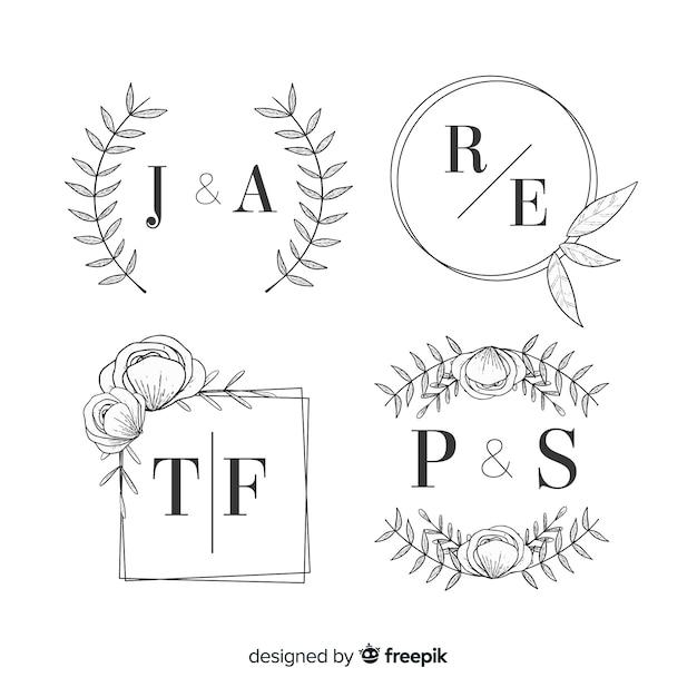 Bruiloft monogram logo's sjabloon collectie Gratis Vector